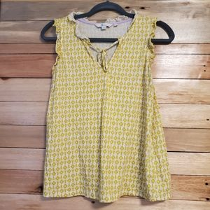 Boden yellow tulips floral ruffled tank top